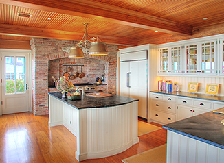 Beaded Heart Pine Ceiling & Pained Custom Kitchen Cabinets: Heritage Kitchen A - Nantucket, MA